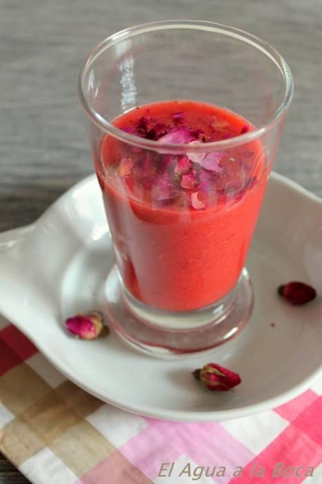 Batido de fresas, frambuesas y Litchi / Smoothie de fraises, framboises et Litchi
